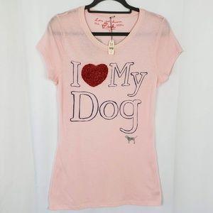 NWT Pink Victoria Secret I Love My Dog T-Shirt
